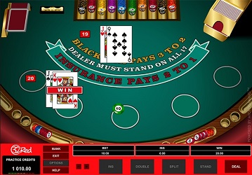 an online game of blackjack on 32Red casino