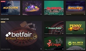 Game choice at Betfair online casino