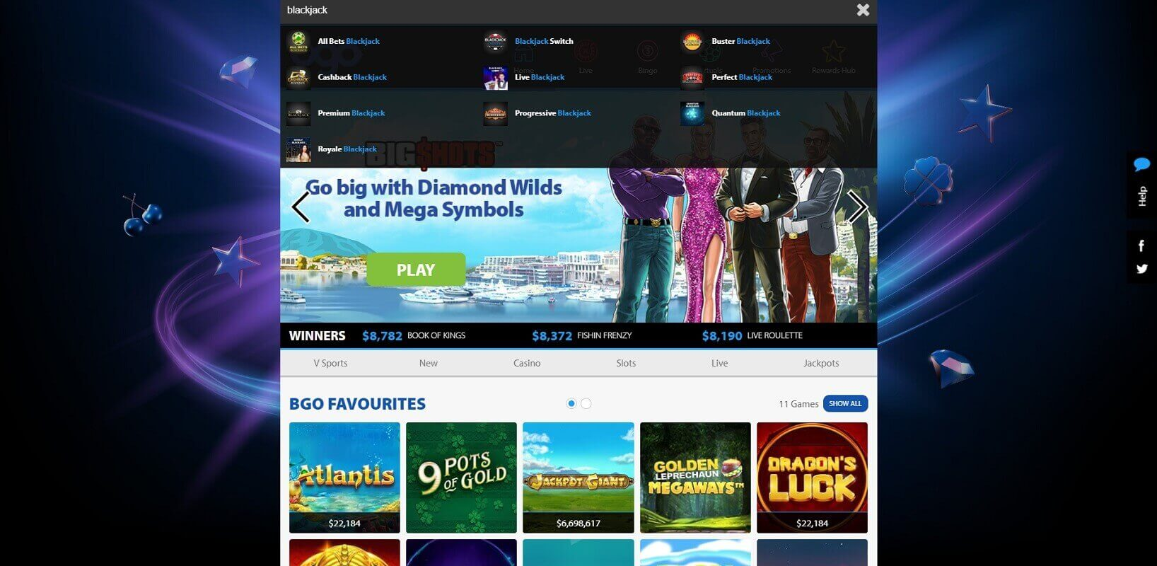 Game choice at bgo online casino
