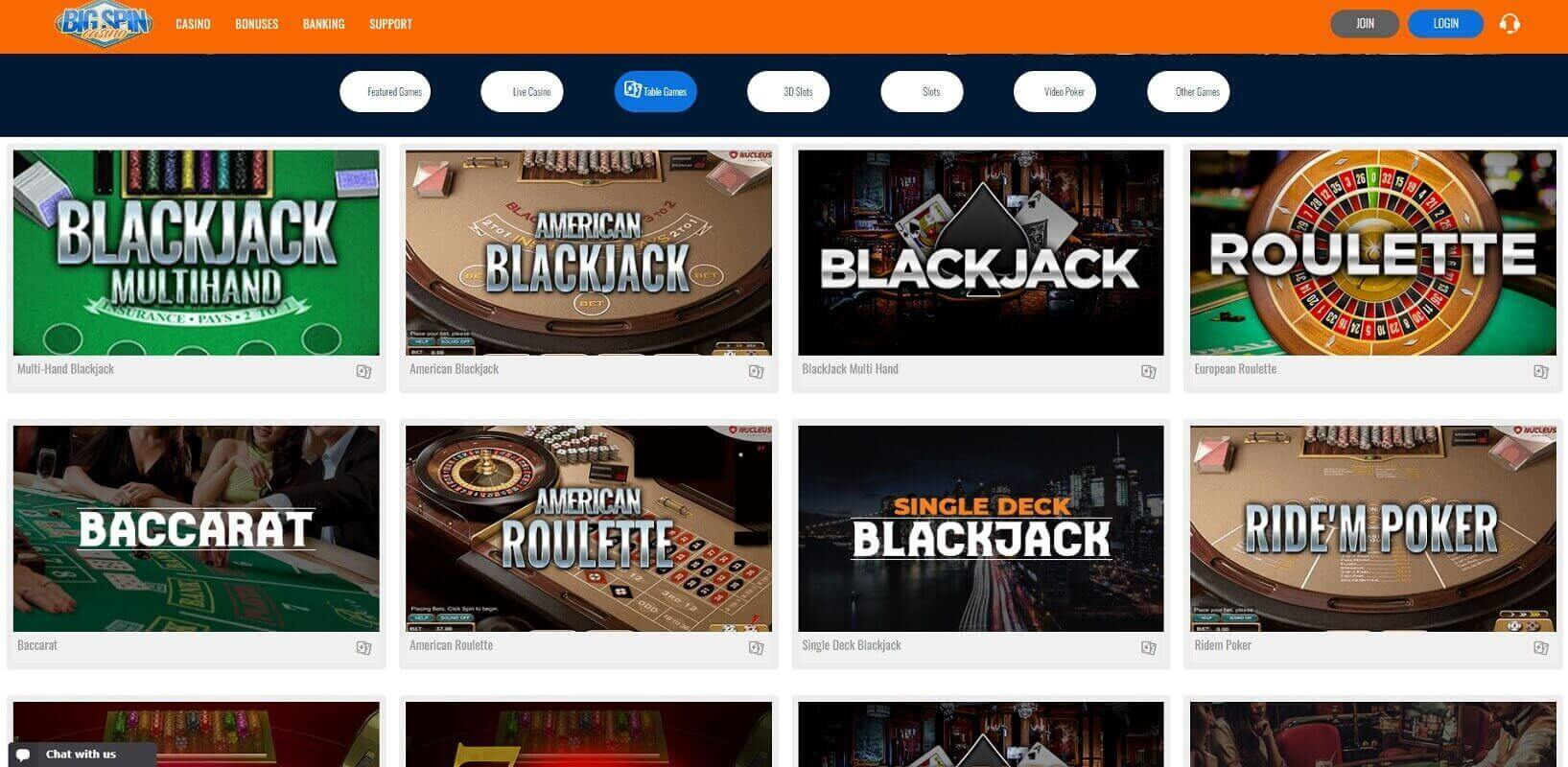 Game choice at BigSpinCasino online