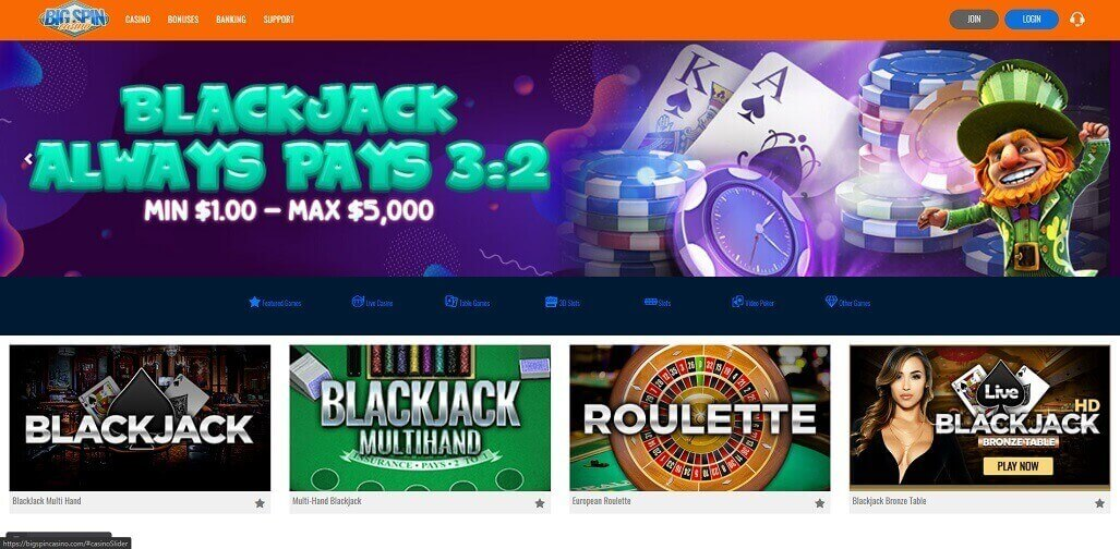 BigSpinCasino website homepage