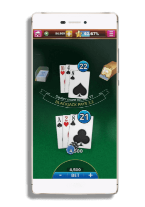 playing blackjack on a smartphone