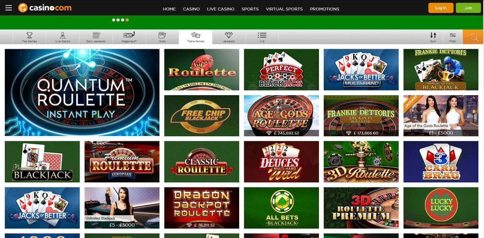 Game choice at Casino.com online casino