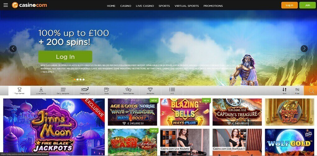 Casino.com casino website homepage