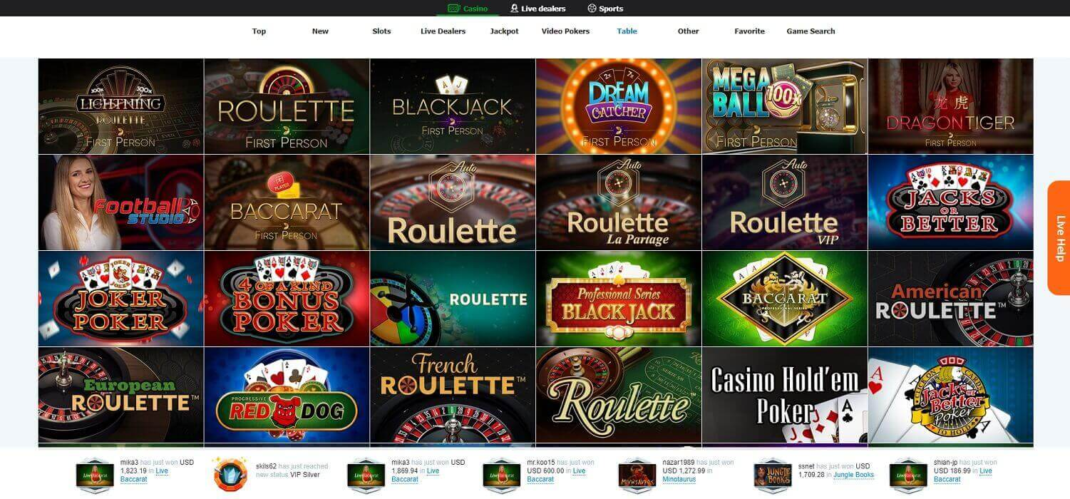 Game choice at Casino-X online casino