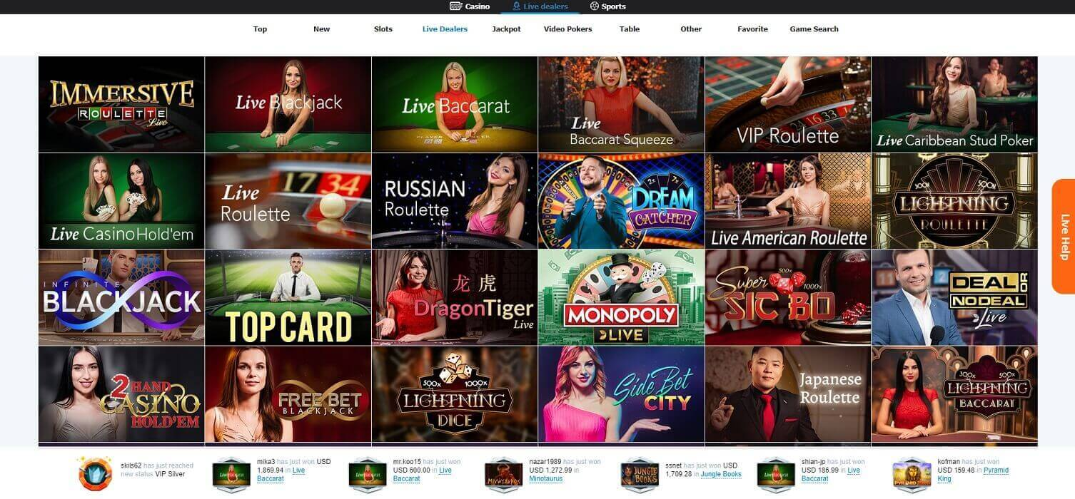Live dealer games at Casino-X online casino
