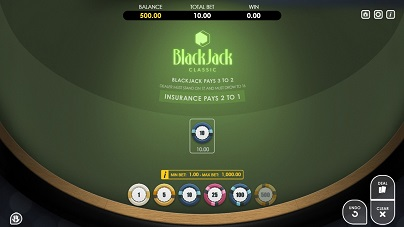 an online version of Single Hand Blackjack at Casoo Casino