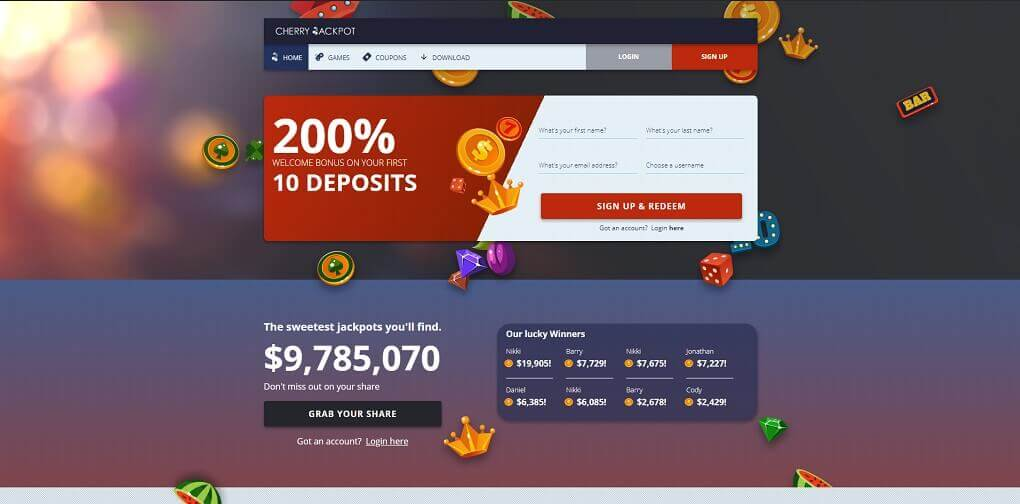 Cherry Jackpot casino website homepage