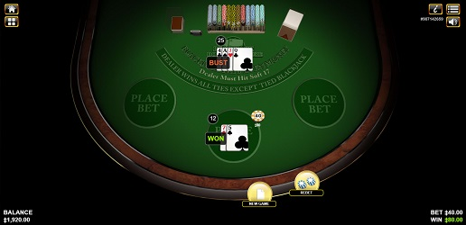 an online game of double exposure blackjack 3 hand by Habanero