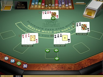 Double Exposure Blackjack table from the top manufacturer Microgaming