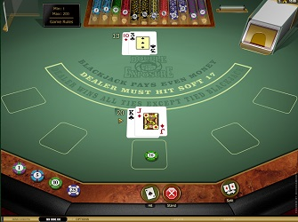 A hand of the Double Exposure Blackjack game by Microgaming