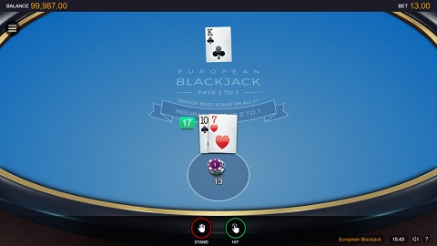 Online version of european blackjack switch