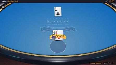 an online game of european blackjack
