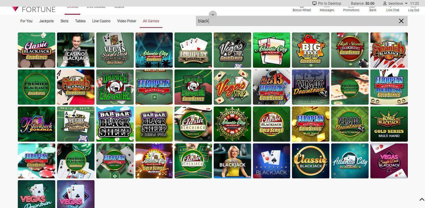Game choice at Ruby Fortune online casino