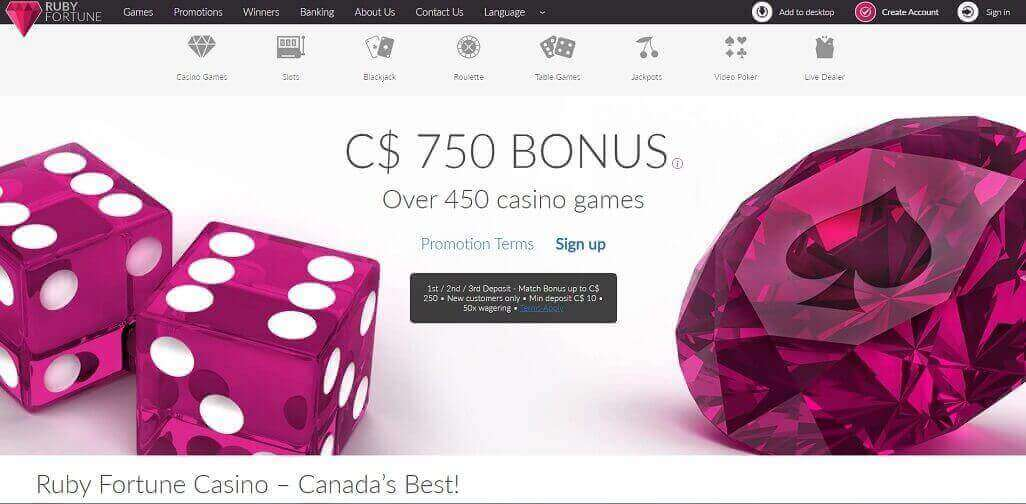 Ruby Fortune casino website homepage