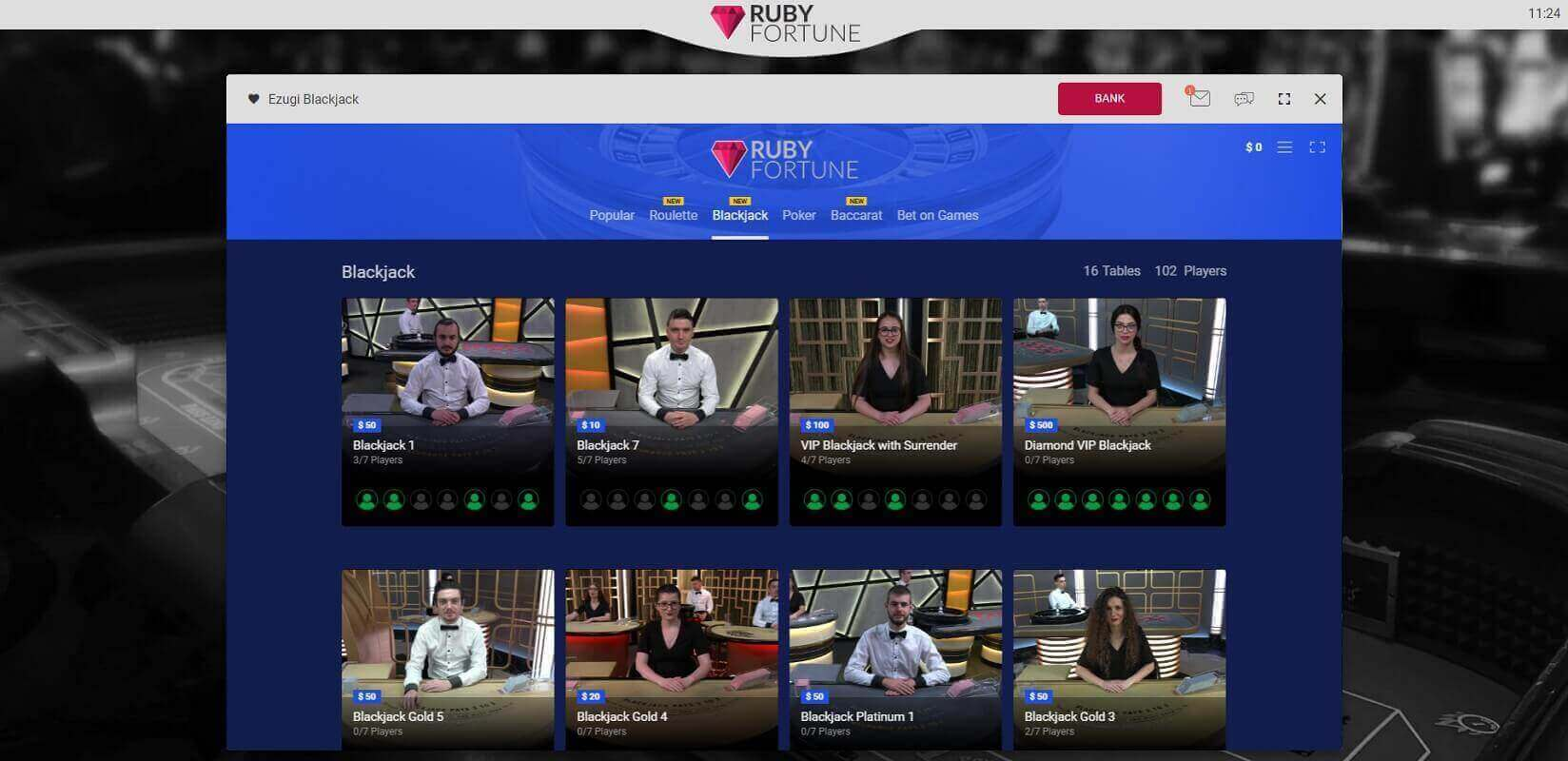 Live dealer games at Ruby Fortune online casino