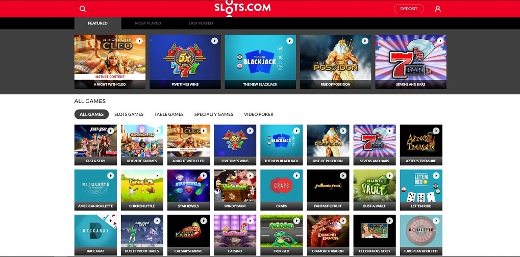 Game choice at Slots.com online casino